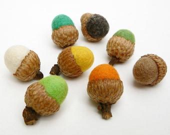 Felt Acorns for Autumn Needle Felted Wool Acorns, Natural Rustic Woodland Fall Home Decor Decoations - 8