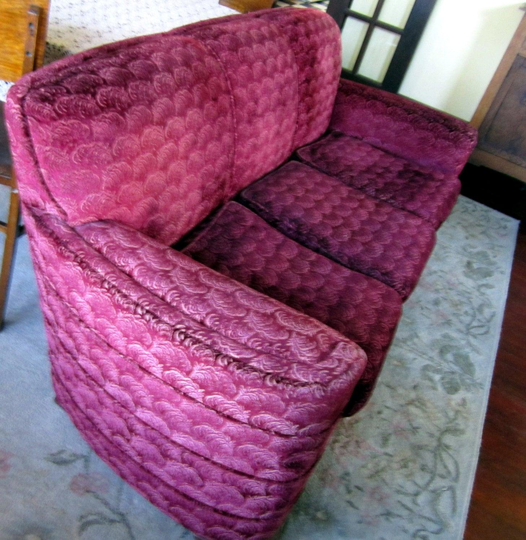 Vintage Art Deco Sofa Couch Mohair Original Burgundy