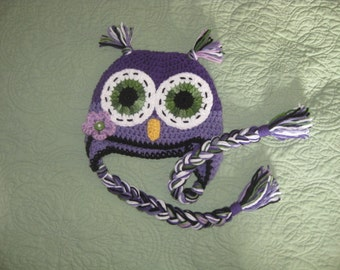 owl hat crochet made to order in any color or size