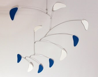Blue and White Mobile, Baby Mobile, Nursery Mobile, Hanging Mobile Sculpture, Rang Style, Kinetic Calder Inspired 27w x 35t - P148