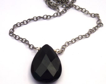 Sale - Onyx Pendant Necklace - Layering Necklace - Onyx Necklace - Onyx and Sterling Silver Chain - Sale