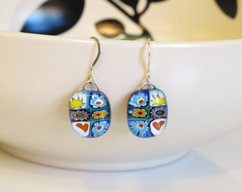 Millefiori Fused Glass Earrings 1327