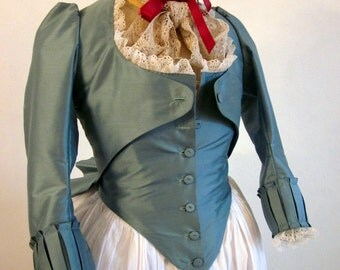 Custom Jacket 18th Century Zone Front Marie Antoinette Style in your choice of color for Rococo, Georgian, & Colonial Historical Reenactment