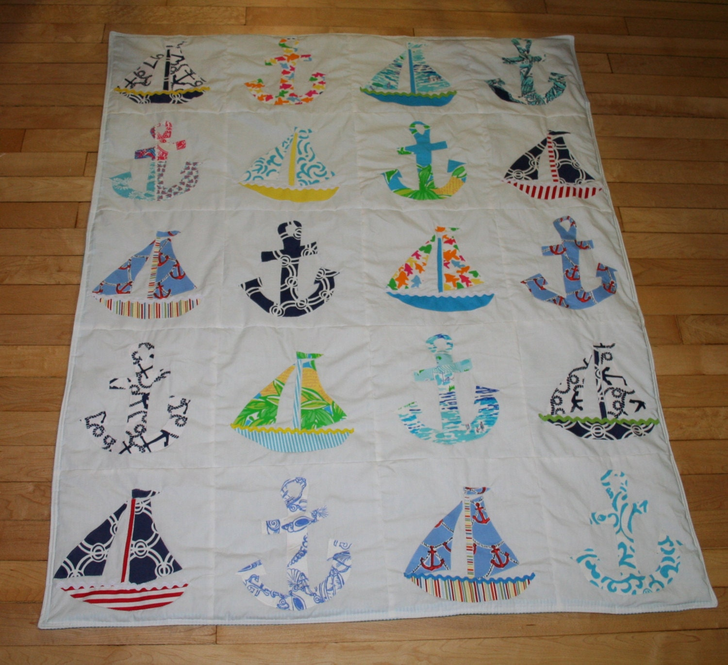 Baby boy nautical quilt made with lilly pulitzer fabric for Boy quilt fabric