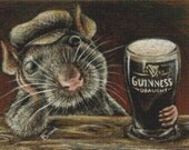Modern Cross Stitch Kit, Tanya Bond,  'Paddy the rat drinking Guinness in a quiet pub', Counted Cross Stitch, Rat Cross Stitch, Cross Stitch