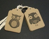 Owl Gift Tags... Large Kraft Tag... Price Tags... Merchandise Tags...12 pcs...