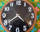 Deep Blue Retro Round Clock with Enameled Faceplate. Danish.