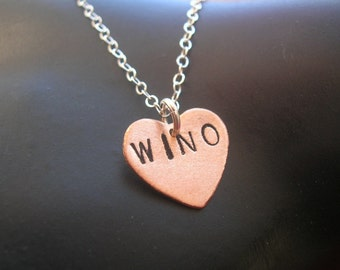 Wino, Wine Lover Gift, Alcoholic, Drunk in Love, Addiction, Wine Charms, Modern, Copper Heart Necklace, Mixed Metal Necklace, Metal Taboo