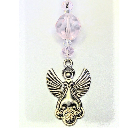 Rear View Mirror Car Charm An Angel Charm With Pale Pink