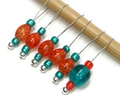 Knitting Stitch Markers Set, Snag Free, Beaded, Orange, Teal, Knitting Tool, Gift for Knitter, TJBdesignsgns