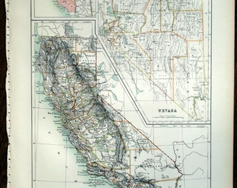 1890 Antique Map of California and Nevada - California Nevada Antique Map - Large Special Library Edition - Antique Nevada California Map