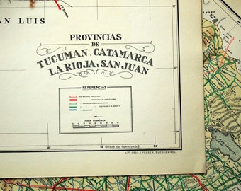 1938 Rare Poster-sized Limited Edition Vintage Map of Tucuman, Catamarca, La Rioja, and San Juan, Argentina