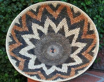 """Vintage African Zulu Basket Woven Open South Africa 7.5""""H X 18""""D X 57""""C"""