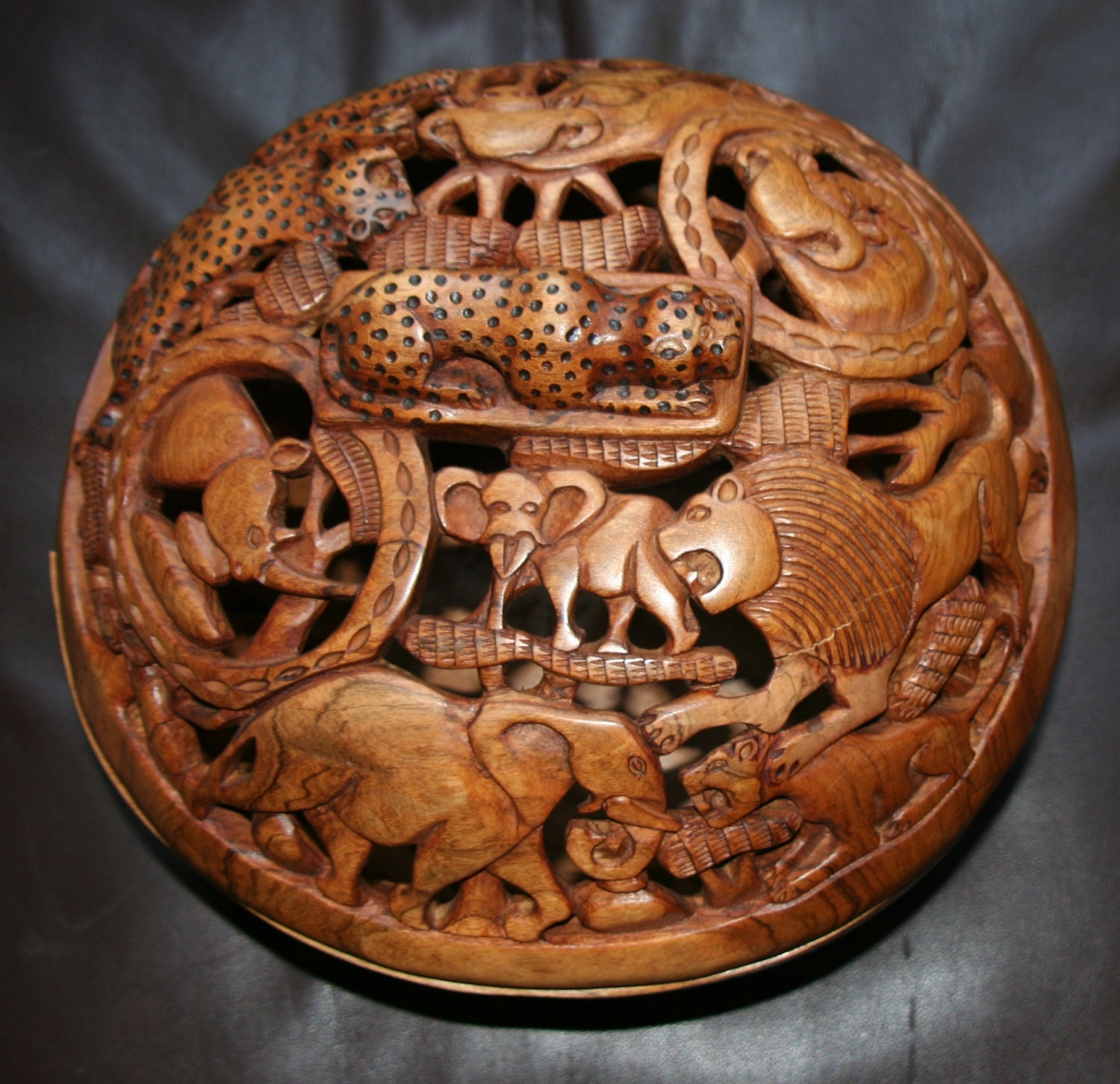 African Olive Wood Carved Bowl With Lid Big 5 African
