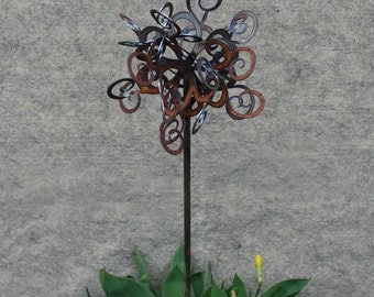 NEW Garden stake - Swirl Puff - Rusted Garden Stake comes in 26, 30, 34 inch sizes