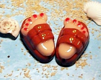 Clearance Sale - Flip Flop BEADS Handmade from Polymer Clay