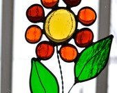 Funky Orange Red Flower Suncatcher