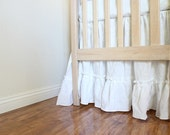 "For Jennifer - IRIS...Crib skirt...ruffled crib skirt 100% linen (18"" drop)"