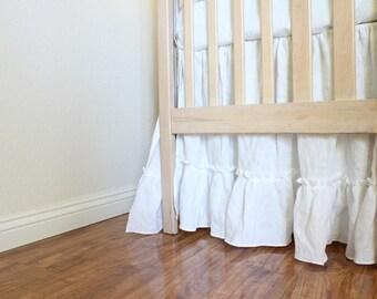 IRIS...Crib skirt...ruffled crib skirt 100% linen