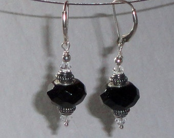 Elegant Onyx Swarovski Crystal Sterling Silver Interchangeable Lever-Back Earrings