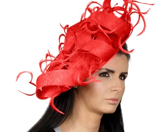 Rolling Seas Red Kentucky Derby  Fascinator Hat for weddings, Church, Races With Headband