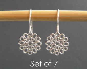 """bridesmaid earrings: SET OF 7. small silver filigree ovals. sterling silver dangle. flower drop. bridal gifts. wedding jewelry. 1/2"""""""