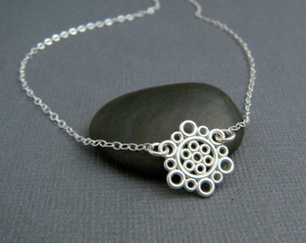 silver circle necklace. small sterling silver necklace. everyday necklace. simple. modern filigree. delicate. dainty jewelry 1/2""