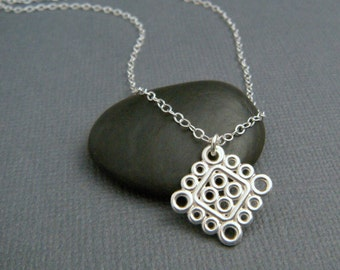 """silver circle necklace. geometric jewelry. sterling silver square necklace. everyday. simple. modern filigree. delicate. dainty jewelry 5/8"""""""