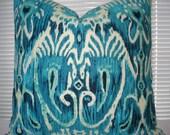 Duralee--Ikat Decorative Designer Pillow .Linen--.Indigo , Peacock Blue, Aqua ,Emerald, Turquoise  Ikat  lumbar Pillow