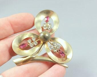 Rhinestone Brooch Vintage Flower Pin Gold