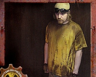 Made to Order a Mens One of a Kind Radioactive Yellow Dirty and Distressed Wasteland T-shirt