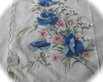 handkerchief A Burmel Original cotton tags still on white with blue and pink flowers