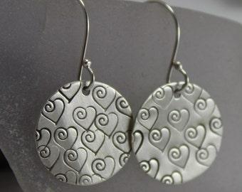Sterling Silver Swirl Heart Hand Stamped Earrings