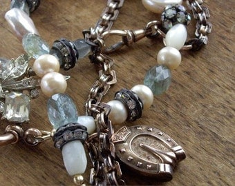 Antique  Assemblage Watch Chain with Horseshoe Fob, Pearls, Rhinestones, Moss Aquamarine Necklace