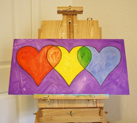 THREE HEARTS PAINTING, Rainbow and Color Theory -- Original Oil Painting on Canvas, 12 x 24""