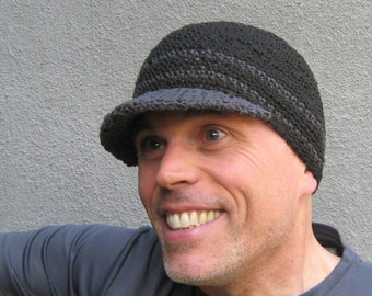 men's hemp visor beanie/ black charcoal gray crochet- made to order