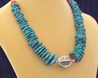 Southwestern Style Turquoise Sterling Silver Red Turquoise Necklace
