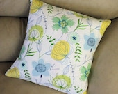 FINAL MARKDOWN on last pillow in this fabric - Decorative Throw Pillow - 16 inch Spring Flowers Cottage Chic, yellow, aqua,  B2-7