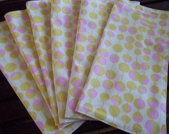 Cloth Napkins Set of 6 Amy Butler Martini Yellow & Pink