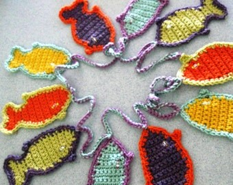 Fish Garland Crochet Beach House Décor Orange Aqua Purple Lime Green Gold Crystal Eye Colored Beads