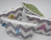 6 Makeup Bags - Cosmetic Bags for Bridesmaids - Wipeable and Monogrammed - Chevron pick your colors