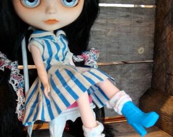 Blythe Vintage Barbie Doll Dress Boots fits Blythe and Skipper