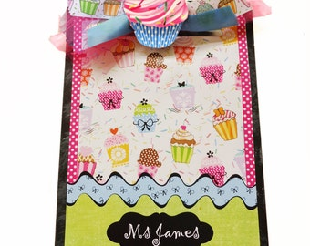 Decorative Clipboard Personalized Cupcake Mania