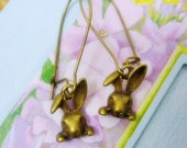 SALE Bunny Dangle Earrings,Bronze Bunny Earrings
