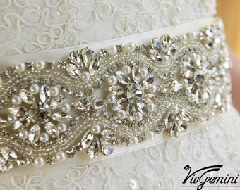 "Bridal sash 17"", rhinestones and pearl sash, wedding sash, wedding dress sash, wedding belt, Bridal Sash belt"