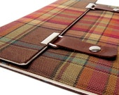 iPad / iPad Air case - brown, orange and green plaid