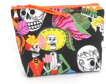 Day of the Dead Couple Make Up / Coin Bag / Storage  / Cell Phone Bag / Organizer