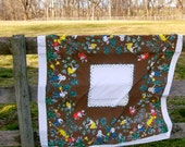 DIRT  Tablecloth / Garden Scene Tablecloth / Vintage 50's / Linen / Colorful Collectible/ Price Reduced