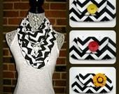 Black and White Chevron Infinity Scarf Spring Fashion