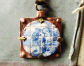 miniature tile pendant St. Anthony portuguese tile on copper